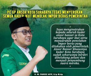 Ketua Ansor Kota Surabaya Menyerukan Semua Kader Ikut Menolak Impor Beras Pemerintah